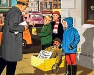 Illustration of children with guy 1960s